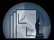 Icono de un informe con gráficas y tablas y una estilográfica