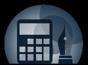 Icono Calculadora y estilográfica