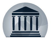 Icono de un edificio con columnas estilos romano
